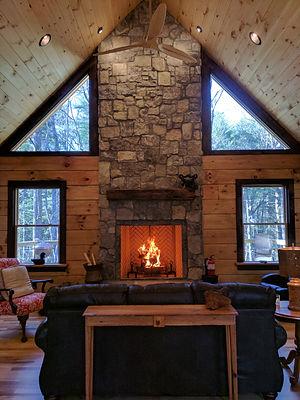 wood burning fireplace rental cabin