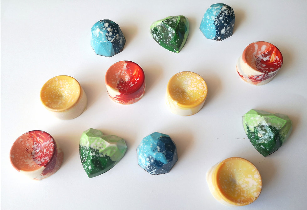 A variety of two tone bon bons from the Summer Collection