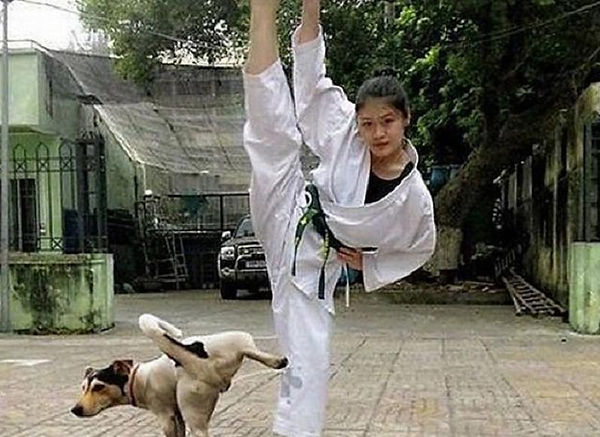 Funny-Situations-Karate-Girl-And-Dog-Pic