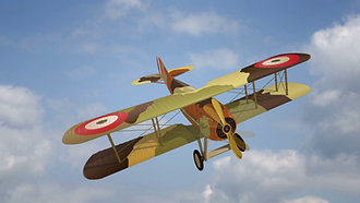 flying-biplane-from-world-war-with-milit
