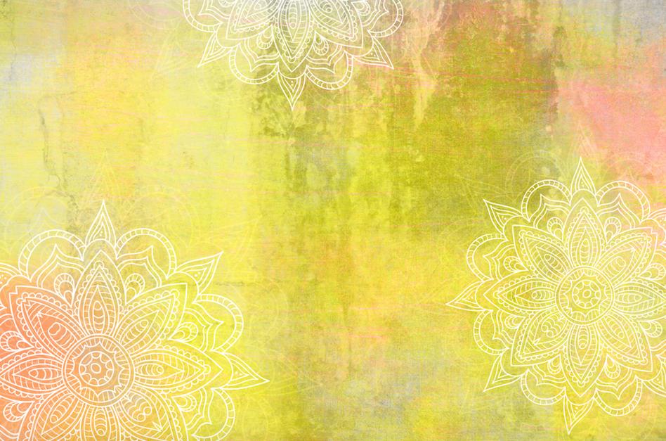 Hippie Background Yellow Orange Mandalas