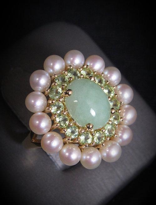 14KT Yellow Gold Jade, Peridot, & Pearl Antique Ring