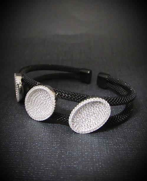 Pavé Oval White Topaz & Rhodium Plated Open Cuff Bracelet