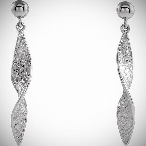 14KT White Gold Twisted Dangle Earrings