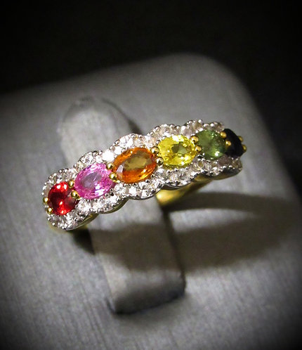 Multigem Rainbow Sapphires 14KT Yellow Gold Plated Sterling Silver Ring