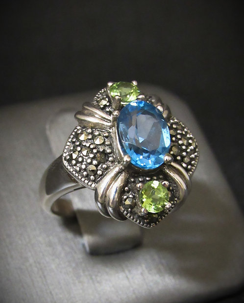 Blue Topaz, Peridot, & Marcasite Sterling Silver Ring