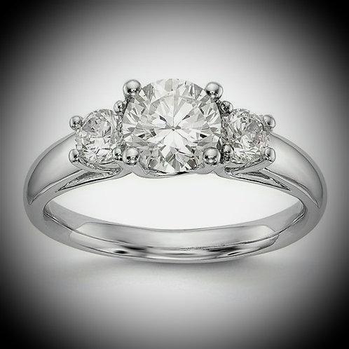 14KT White Gold 3-Stone Engagement Mounting