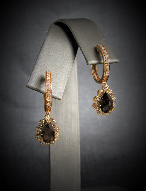 14KT Rose Gold Diamond And Smokey Topaz Dangling Earrings