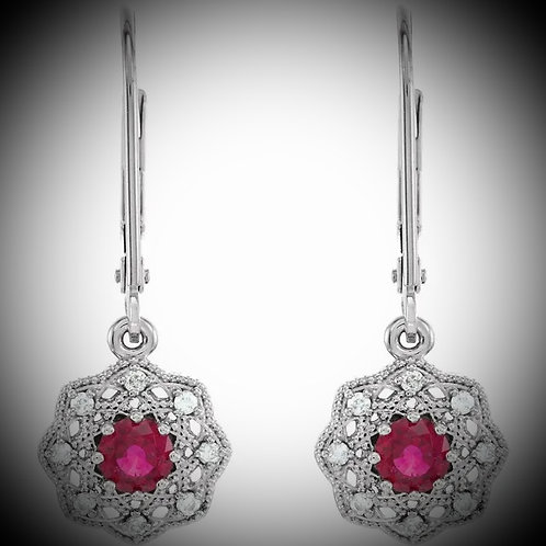 14KT White Gold Ruby And Diamond Halo Style Earrings