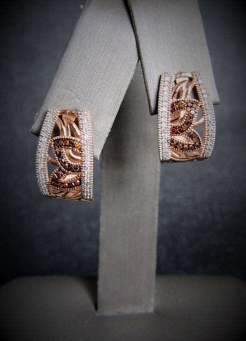 14KT Rose Gold White And Cognac Diamond Earrings