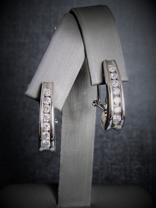 14KT White Gold Channel Set Diamond Earrings
