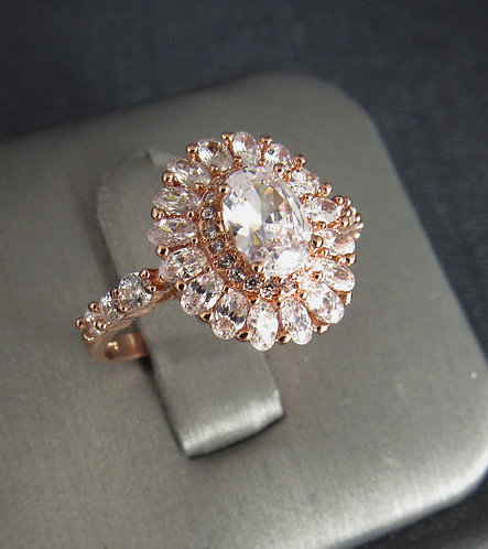 Oval Cubic Zirconia 14KT Rose Gold Plated Sterling Silver Ring