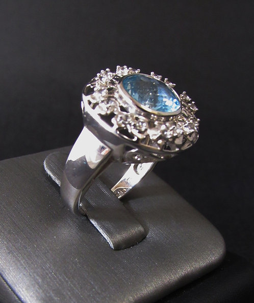 Round Aquamarine 18KT Gold Plated Sterling Silver Ring