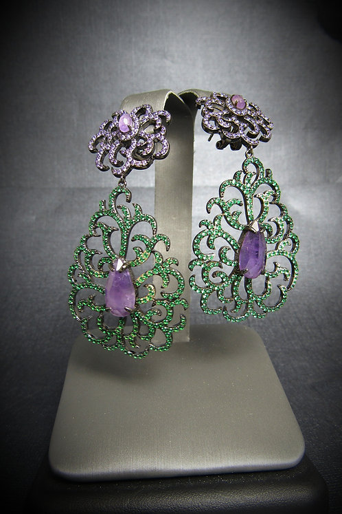 Amethyst, Tsavorite Garnet, & Black Rhodium Plated Sterling Silver Earrings
