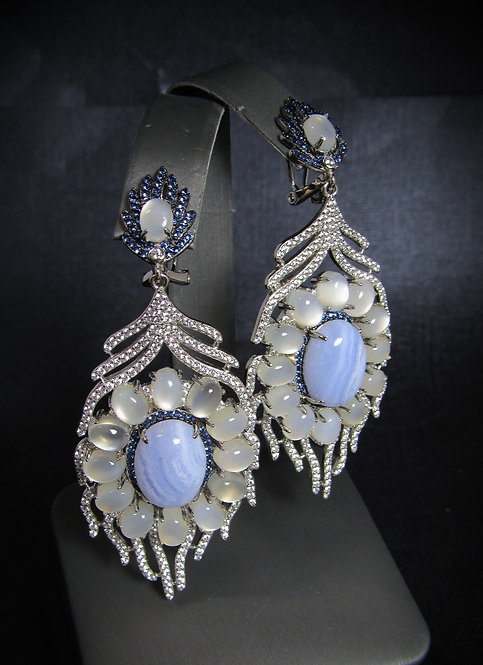 Blue Lace Agate, Opalite, & Sapphire 14KT Gold Plated Sterling Silver Earrings