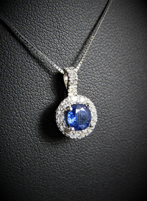 14KT White Gold Diamond And Sapphire Halo Style Pendant