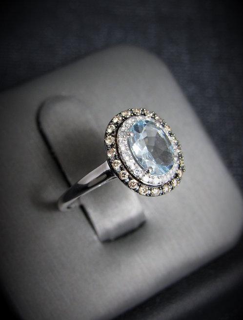14KT White Gold Champagne And White Diamond Blue Topaz Ring