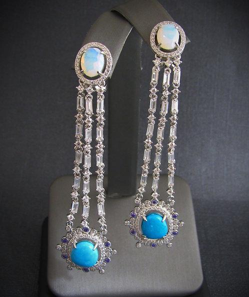 Blue Lapis, Sapphire, Topaz, & Opal 14KT Gold Plated Sterling Silver Earrings