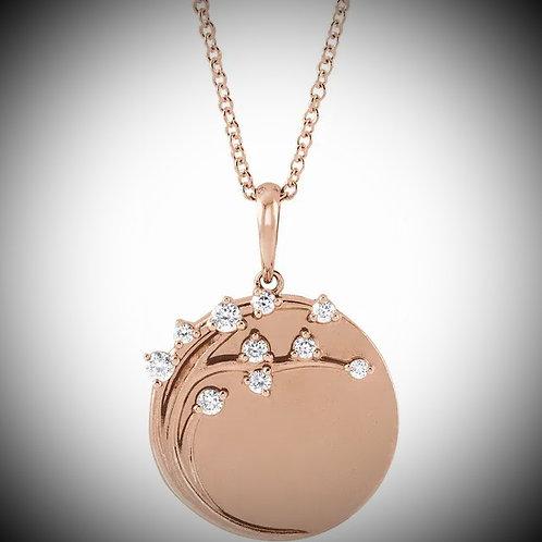 14KT Rose Gold Diamond Family Tree Circle Necklace