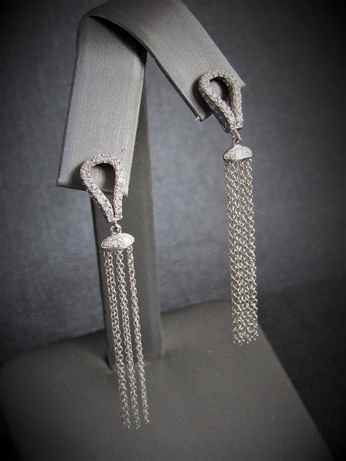 14KT White Gold Diamond Multi Chain Drop Earrings