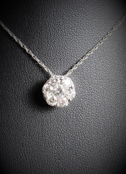 14KT White Gold Diamond Cluster Style Pendant