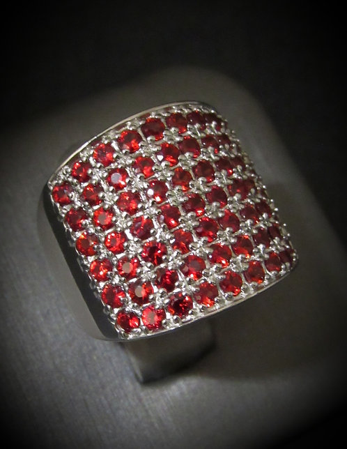 Pavé Garnet 14KT Gold Plated Sterling Silver Ring