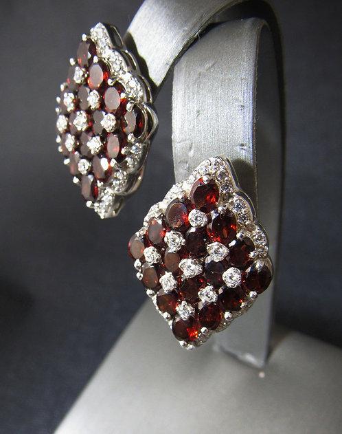 Garnet & White Topaz Triangle Sterling Silver Earrings