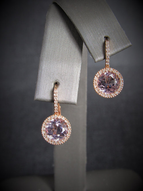 14KT Rose Gold Diamond And Pink Amethyst Earrings