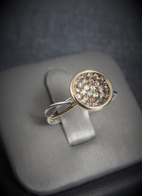 14KT White And Rose Gold Champagne Diamond Ring