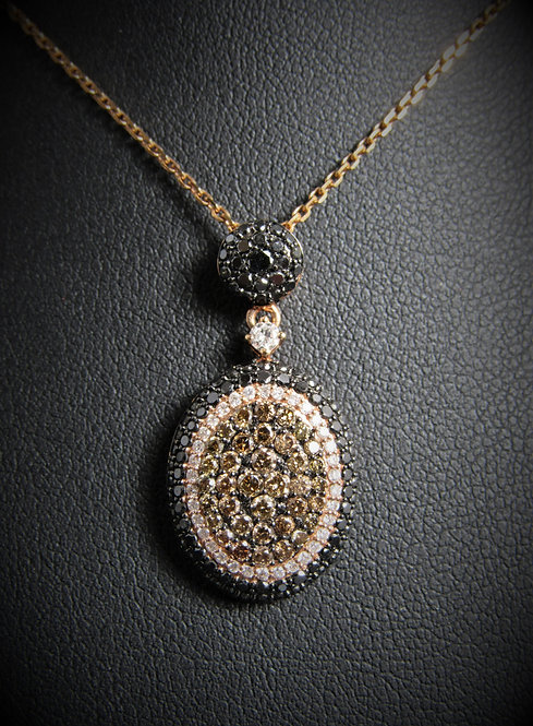 14KT Rose Gold Diamond Oval Pendant