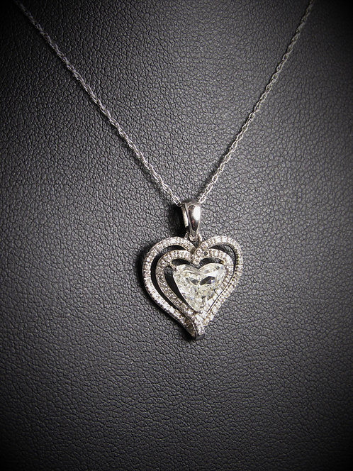 14KT White Gold Heart Shape Diamond Pendant