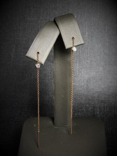 14KT Rose And White Gold Diamond Thread-Through Chain Earrings