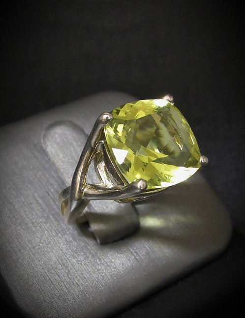 Square Lemon Quartz Sterling Silver Ring