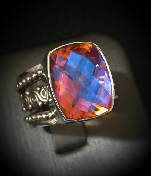 Square Checkerboard Shape Mystic Topaz Sterling Silver Ring