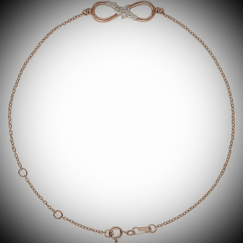 14KT Rose Gold Diamond Infinity Chain Bracelet