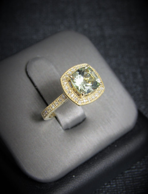 14KT Yellow Gold Diamond And Green Amethyst Halo-Style Ring