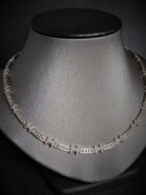 18KT White Gold Diamond Tennis Channel Set Necklace