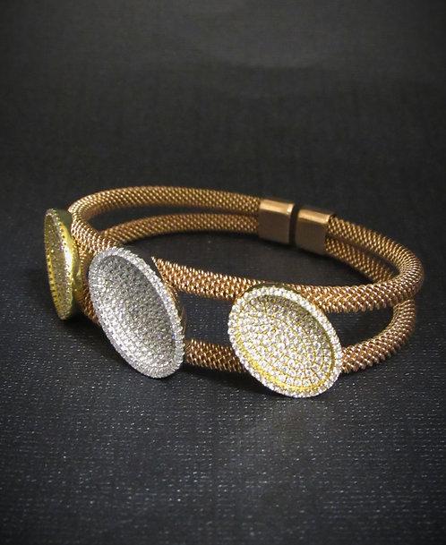 Pavé Oval White Topaz & 18KT Rose Gold Plated Sterling Silver Open Cuff Bracelet