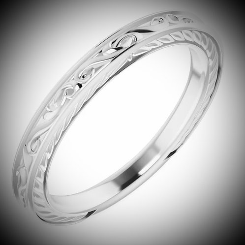 14KT White Gold Vintage Engraved Style Band