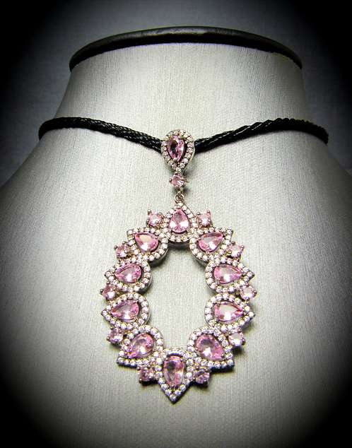 Pink Topaz & White Topaz 18 KT Gold Plated Sterling Silver Necklace
