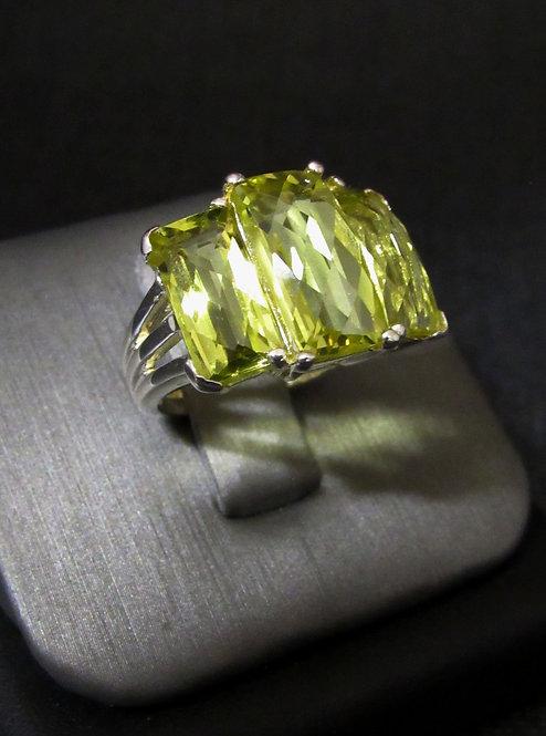 Lemon Quartz 3 Stone Sterling Silver Ring