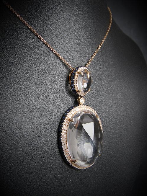 18KT Rose Gold Diamond Sapphire And WhiteTopaz Pendant