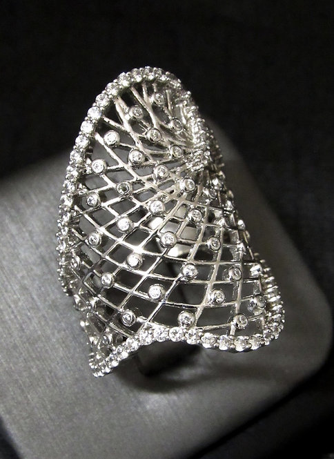 White Topaz Net 14KT Gold Plated Sterling Silver Ring