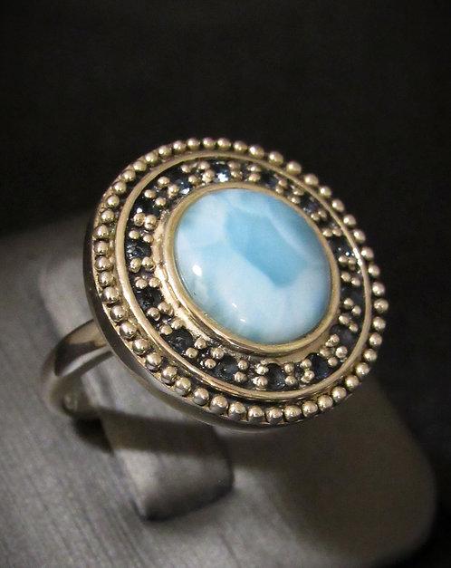 Larimar & Blue Topaz Sterling Silver Ring