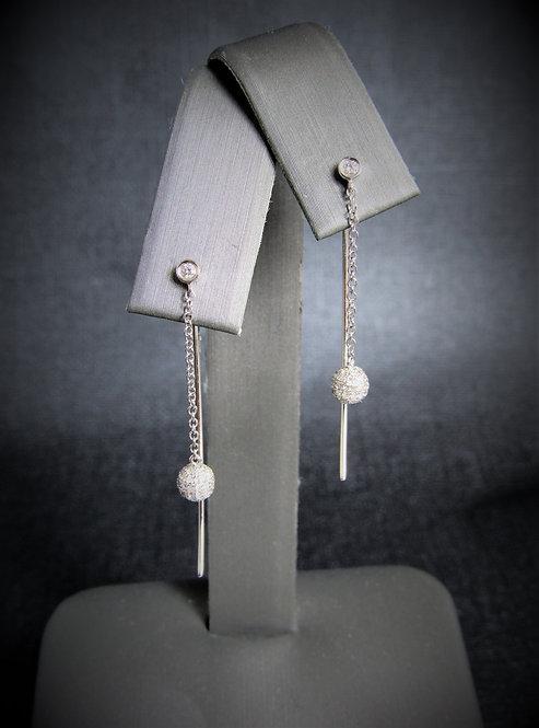 14KT White Gold Diamond Dangling Wire Earrings