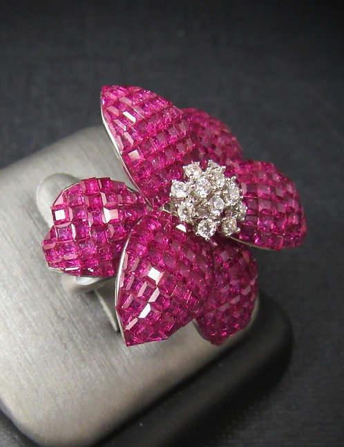 Star Flower Ruby & White Topaz 18KT Gold Plated Sterling Silver Ring