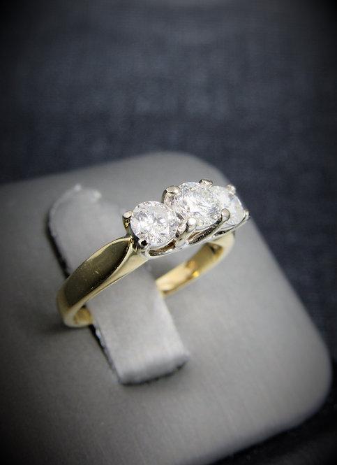 14KT Yellow And White Gold Round Cut Diamond Three-Stone Style Engagement Ring