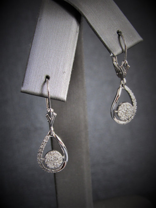 14KT White Gold Diamond Tear Shape Dangling Earrings