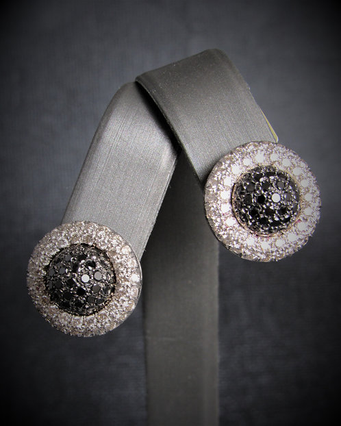 14KT White Gold Black And White Diamond Pave Earrings