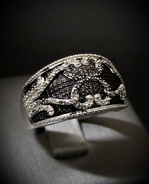 Diamonds & Black Enamel 18KT Gold Plated Sterling Silver Ring